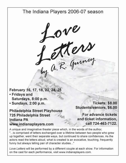 Indiana Players Posters Love Letters 2007